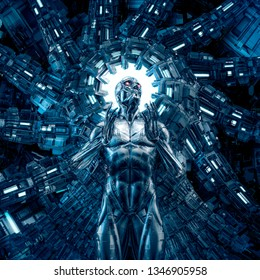 I dream in steel / 3D illustration of science fiction male humanoid cyborg inside glowing futuristic computer core