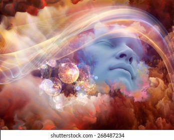 Dream Wave series. Abstract design made of human face and colorful fractal clouds on the subject of dreams, mind, spirituality, imagination and inner world