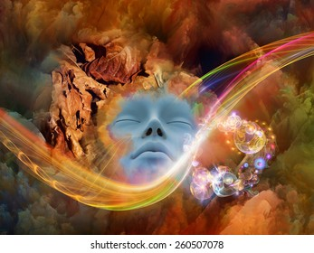 Dream Wave series. Arrangement of human face and colorful fractal clouds on the subject of dreams, mind, spirituality, imagination and inner world