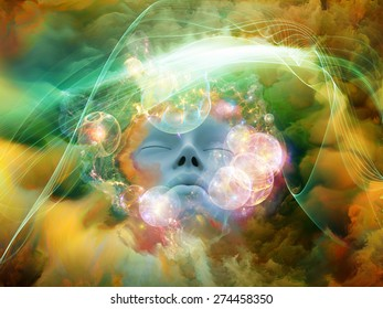 Dream Wave series. Background design of human face and colorful fractal clouds on the subject of dreams, mind, spirituality, imagination and inner world