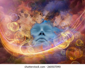 Dream Wave series. Composition of human face and colorful fractal clouds suitable as a backdrop for the projects on dreams, mind, spirituality, imagination and inner world