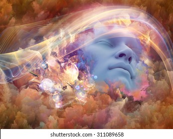 Dream Wave series. Design composed of human face and colorful fractal clouds as a metaphor on the subject of dreams, mind, spirituality, imagination and inner world