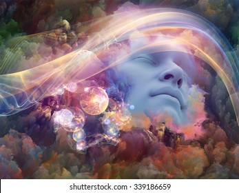 Dream Wave series. Interplay of human face and colorful fractal clouds on the subject of dreams, mind, spirituality, imagination and inner world
