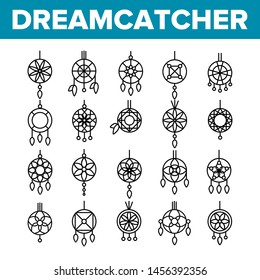 Dreamcatcher, Amulet Thin Line Icons Set. Dreamcatcher, Protective Tribal Symbols Collection. Native American Magic Charm. Indian Talisman with Feathers Linear Illustration. Gift, Souvenir Idea