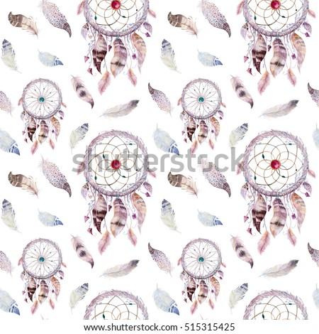 Dreamcatcher Feather Pattern Watercolor Bohemian Decoration Stock Gorgeous Dream Catcher Design Patterns