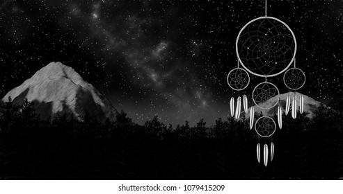 dreamcatcher on a night sky forest and mountain background 3d illustration render
