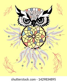 Dreamcatcher. Owl. Tattoo art, mystic symbol. Abstract feathers. Print. American Indians symbol. Design for spiritual relaxation for adults