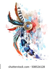 Dreamcatcher with red and blue feather. gold jewerly with gems and feathers on watercolor background. Splash paint. Ethnic illustration, tribal