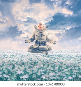 Dreamer in the field / 3D illustration of surreal science fiction scene with meditating astronaut levitating over a field of flowers under a glorious sky