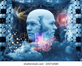Dreaming Intellect series. Arrangement of human face and technological elements on the subject of mind, reason, intelligence and imagination