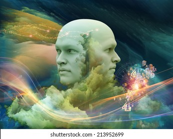 Dreaming Intellect series. Backdrop design of human face and technological elements to provide supporting composition for works on mind, reason, intelligence and imagination