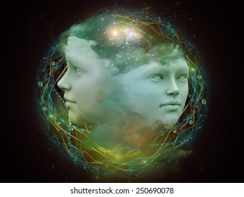 Dreaming Intellect series. Creative arrangement of human face and technological elements as a concept metaphor on subject of mind, reason, intelligence and imagination