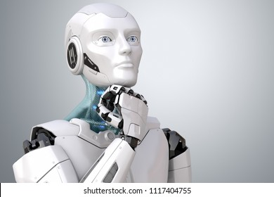 Dreaming robot. Clipping path included. 3D illustration