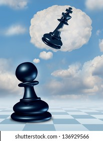 Dreaming of success as a chess game pawn piece with aspirations of becoming a king and leader in a thought bubble made of clouds thinking for the future as a business concept of strategy planning.