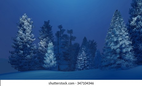 Dreamlike winter night in a snow-covered spruce forest. Decorative 3D illustration was done from my own 3D rendering file.