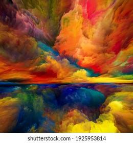 Sueños de cielo. Serie Escape to Reality. Fondo compuesto de colores surrealistas de la puesta del sol y texturas para proyectos de pintura paisajística, imaginación, creatividad y arte