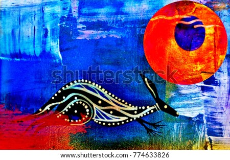 Dreamtime Australian Aboriginal Mythology Picture Kangaroo Stock