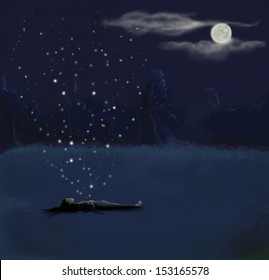 A dreamy illustration of a woman laying down on a field, under a full moon
