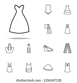 dress with decolletage icon. Summer Clothes icons universal set for web and mobile