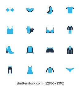 Dress icons colored set with pants, boots, suit and other hosiery elements. Isolated  illustration dress icons.