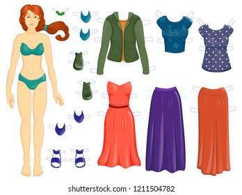 Dress up  paper dall - set of modern clothes - collection for children