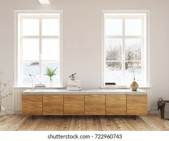 Dresser in the living room - Interior design - 3 D render using 3 d s Max