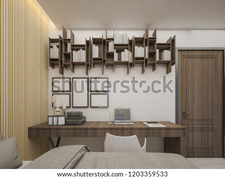 Dressing Table With Bookshelf Are Set In The Master Bedroom 3d Rendering