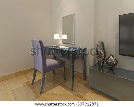 Dressing Table Chair Mirror Modern Hotel Stock Illustration