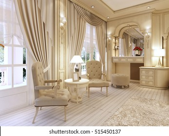 Dressing table and two chairs with a table lamp in classic luxury bedroom. 3D render.