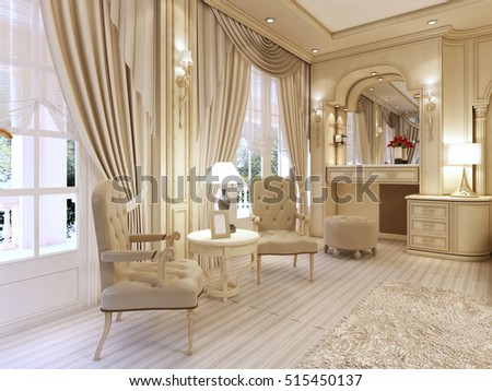 Dressing Table And Two Chairs With A Table Lamp In Classic Luxury Bedroom.  3D Render