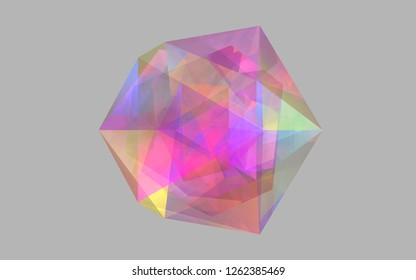 drew this 3D icosahedron in cinema4d. Inside the icosahedron is a dodecahedron inside which is an octahedron.
