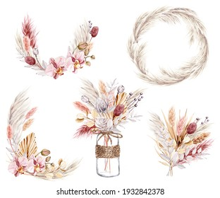 Dried flowers, floral set, watercolor hand drawing. Pampas grass, orchid, tropical palm leaves, wildflowers. Decoration for poster, greeting card, birthday, wedding design.