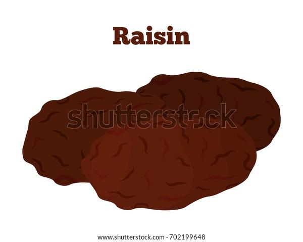 Dried fruit - raisin. Made in cartoon flat style. Healthy snack. Vegetarian food