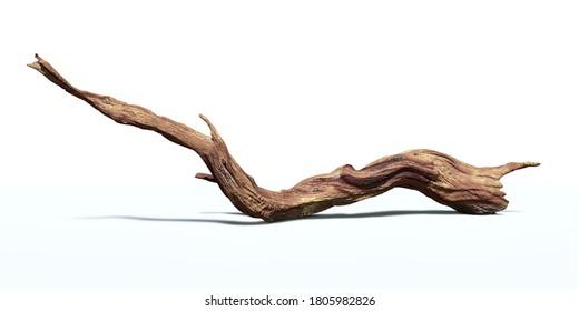 Treibholz einzeln auf weißem Hintergrund, gedrehter Zweig (3D-Rendering)