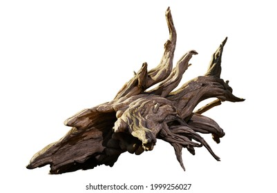 driftwood, pile of aged wood isolated on white background (3d rendering)