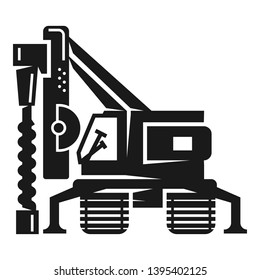Drill excavator icon. Simple illustration of drill excavator icon for web design isolated on white background