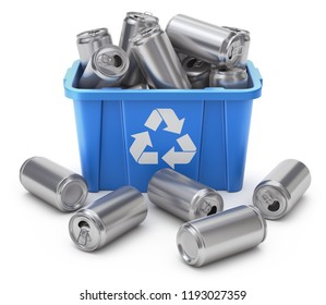 Drink cans in blue recycle crate on white background- 3D illustration
