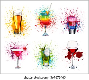 Drink cocktail set watercolor illustration isolated on white background