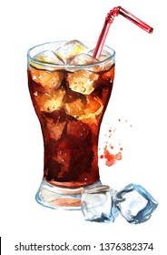 Drink Cola in glass with straw and  ice cubes. Watercolor hand drawn illustration, isolated on white background