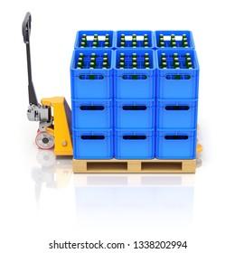 Drink crates and pallet jack on white reflective background - 3D illustration