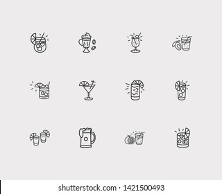 Drink icons set. Pina colada and drink icons with old fashioned cocktail, cuba libre cocktail and gin fizz. Set of cream for web app logo UI design.