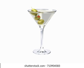 Drink martini 3D rendering. Martini with olives isolated on white. Martini Cocktail on white background.