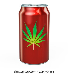 Drink metallic can with cannabis. 3D rendering isolated on white background