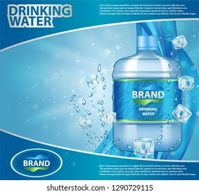 Drinking cooler water ad realistic illustration. Plastic clean water bottle with label on blue background with bubbles and ice cubes.