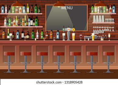 Drinking establishment. Interior of pub, cafe or bar. Bar counter, chairs and shelves with alcohol bottles. Glasses, tv, dart, fridge and lamp. Wooden decor. illustration in flat style Raster version.