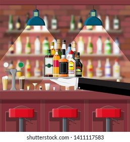Drinking establishment. Interior of pub, cafe or bar. Bar counter, chairs and shelves with alcohol bottles. Glasses, lamp. Wooden decor. illustration in flat style