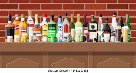 Drinking establishment. Interior of pub, cafe or bar. Bar counter, shelves with alcohol bottles. Wooden and brick decor. illustration in flat style
