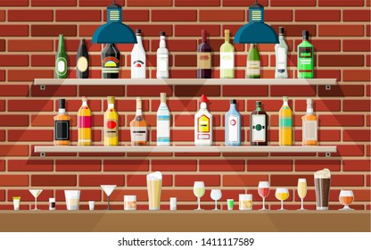 Drinking establishment. Interior of pub, cafe or bar. Bar counter, shelves with alcohol bottles, lamp. Wooden and brick decor. illustration in flat style