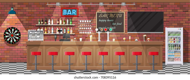 Drinking establishment. Interior of pub, cafe or bar. Bar counter, chairs and shelves with alcohol bottles. Glasses, tv, dart, fridge and lamp. Wooden decor. illustration in flat style.