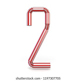 Drinking straw Number 2 TWO 3D render illustration isolated on white background